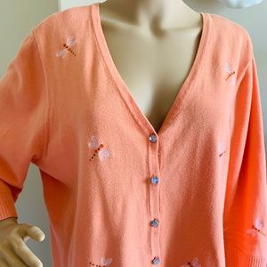 Christopher Banks Orange Dragonfly Cardigan